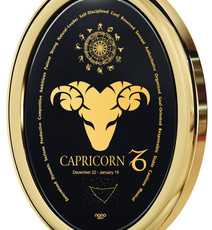 Nano Jewelry Black Gold Oval Capricorn Necklace