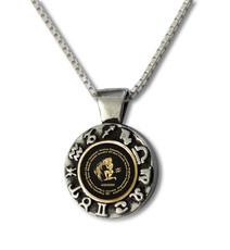 Inspirational Jewelry Black Necklace Aquarius Zodiac Wheel
