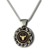 Black Inspirational Jewelry Taurus Zodiac Wheel Necklace