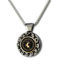 Nano Jewelry Black Capricorn Zodiac Wheel Necklace