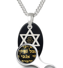 Inspirational Jewelry Silver Oval Star of David Black Necklace