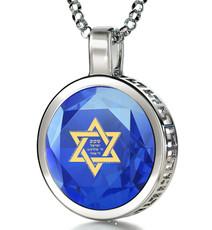 Nano Jewelry Blue Silver Star of David Necklace