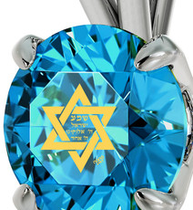 Nano Jewelry Turquoise Circle Silver Star of David Necklace