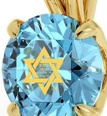 Inspirational Jewelry Circle Gold Star of David Teal Necklace