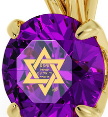 Purple Inspirational Jewelry Circle Gold Star of David Necklace
