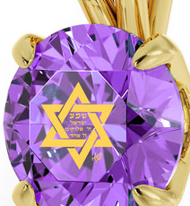 Violet Circle Gold Star of David necklace from Inspirational Jewelry