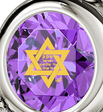 Nano Jewelry Violet Silver Heart Star of David Necklace