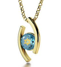 Inspirational Jewelry Diana Gold Star of David Teal Necklace