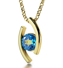 Inspirational Jewelry Diana Gold Star of David Turquoise Necklace