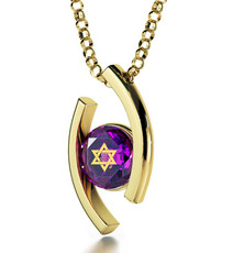 Purple Inspirational Jewelry Diana Gold Star of David Necklace