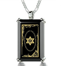 Inspirational Jewelry Silver Rectangle Star of David Necklace