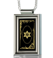 Star of David on Silver Frame Rectangle necklace