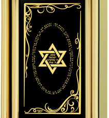 Nano Jewelry Black Star of David on Gold Frame Rectangle Necklace