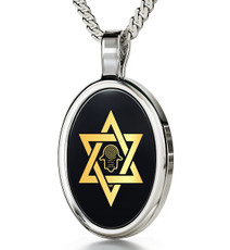 Inspirational Jewelry Necklace Silver Star of David Hamsa