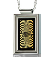 Silver Rectangle 72 Names in Star of David necklace