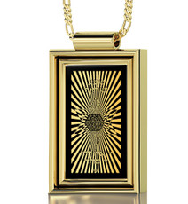 Nano Jewelry Black Gold Rectangle 72 Names in Star of David Necklace