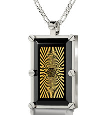 Inspirational Jewelry Black Necklace Silver 72 Names in Star of David