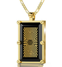 Gold 72 Names in Star of David Rectangle Black Necklace