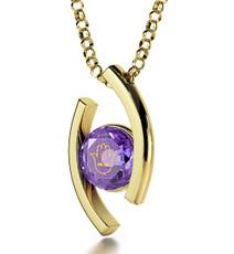 Inspirational Jewelry Diana Gold Hamsa 4 Names Purple Necklace