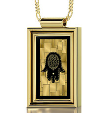 Nano Jewelry Black Gold Framed Rectangle Care and Protection Necklace