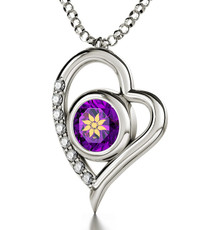Inspirational Jewelry Silver Heart Woman of Valor Purple Necklace