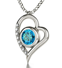 Teal Inspirational Jewelry Silver Heart 72 Names of God Necklace