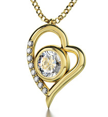 Inspirational Jewelry Gold Heart 72 Names of God Clear Necklace
