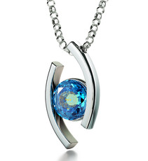 Inspirational Jewelry Blue Necklace Silver Diana Blessing for Partnership