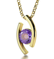 Purple Inspirational Jewelry Gold Diana Blessing for Partnership Necklace