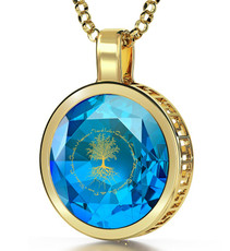 Nano Jewelry Teal Gold Tree of Life Necklace