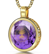 Inspirational Jewelry Gold Tree of Life Purple Necklace