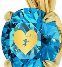 Inspirational Jewelry Cupid's Got You Gold Blue Necklace