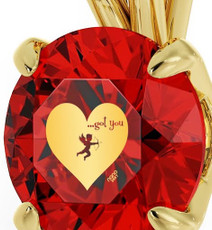 Red Inspirational Jewelry Cupid's Got You Gold Necklace