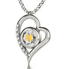 Clear Cupid's Got You Silver Heart necklace from Inspirational Jewelry