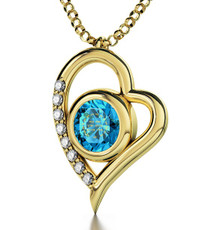 Teal Inspirational Jewelry Gold Heart Ana Beko'ach Necklace