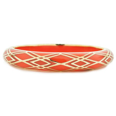 Orange Hamilton Crawford Waves of Electricity Coral and Gold Bracelet