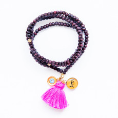7Stitches Kabbalah Dark Wood Tassel Bracelet/Necklace