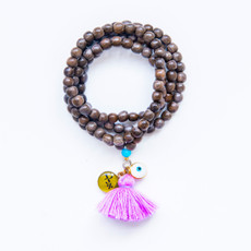 7Stitches Kabbalah Gray wood Pink Tassel Bracelet/Necklace