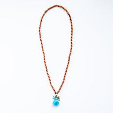 7Stitches Kabbalah Bracelet/Necklace in Bayong Wood Blue Tassel
