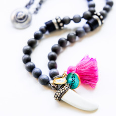 7Stitches Gray Wood and Bone with Pink Tassel