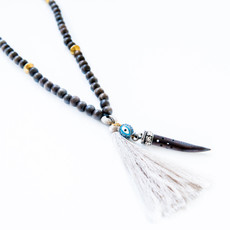 7Stitches Dark Gray wood Mala with Bone Colored Tassel