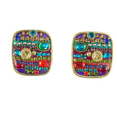 Michal Golan Multicolor rounded square earrings