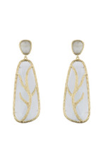 Marcia Moran Light Grey Leaf Branch Earrings