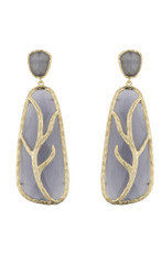 Marcia Moran Dark Grey Leaf Branch Earrings