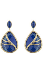 Marcia Moran Royal Blue Leaf Branch Earrings