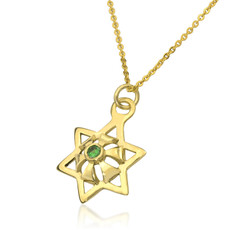 Kabbalah Star Abundance gold Pendant With An Inserted emeralds Gem