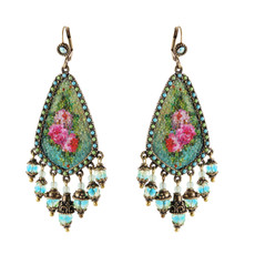 Michal Negrin Turquoise Quilt Beads Earrings - Multi Color