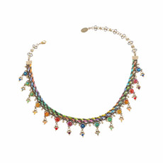 Michal Negrin Painted Silk Necklace - Multi Color