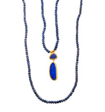 Radiant Blue Sapphire and Opal Necklace by Nava Zahavi - New Arrival