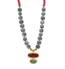 Groovy Labradorite and Ruby Necklace by Nava Zahavi - New Arrival